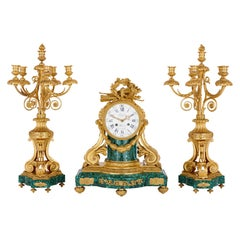 Antique French Gilt Bronze Mounted Malachite Clock Set