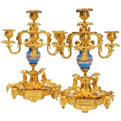 Antique French Gilt Bronze Ormolu and Sevres Porcelain Candelabra