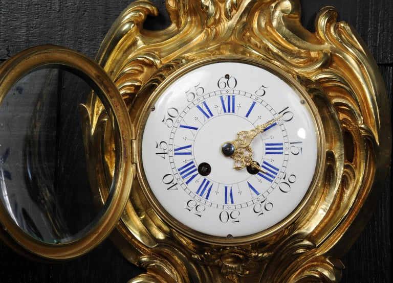 Antique French Gilt Bronze Rococo Cartel Wall Clock For Sale 6
