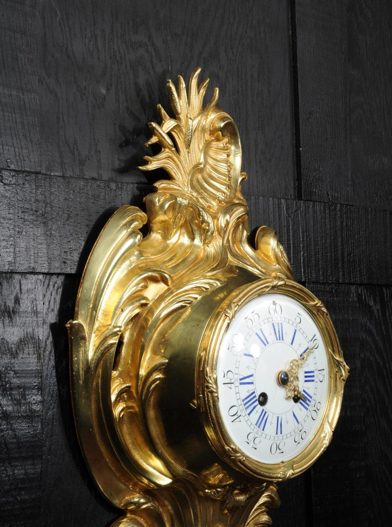 Antique French Gilt Bronze Rococo Cartel Wall Clock For Sale 3