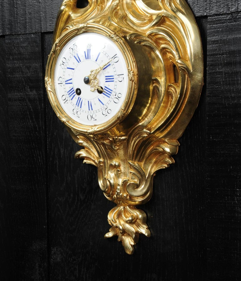 Antique French Gilt Bronze Rococo Cartel Wall Clock For Sale 4