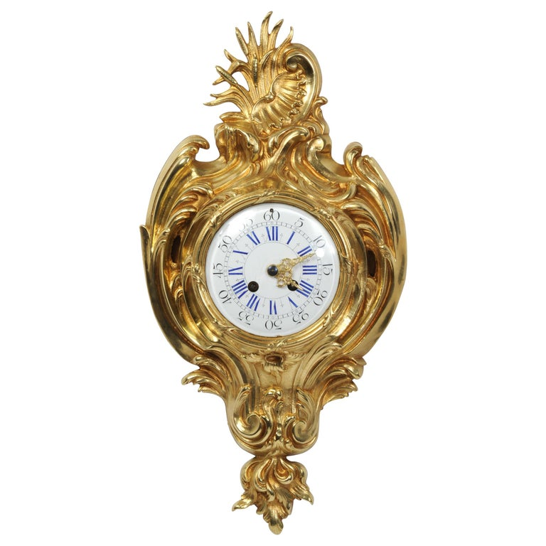 Antique French Gilt Bronze Rococo Cartel Wall Clock For Sale