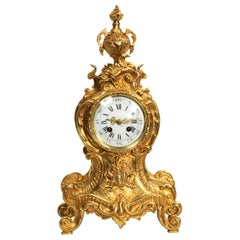Antique French Gilt Bronze Rococo Clock by A.D. Mougin