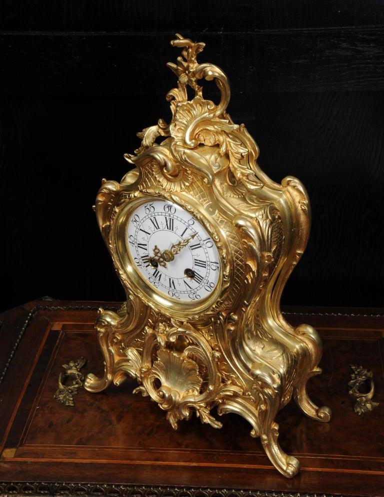 Antique French Gilt Bronze Rococo Clock 6