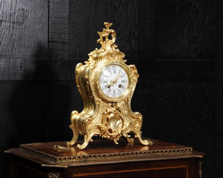 Antique French Gilt Bronze Rococo Clock 7