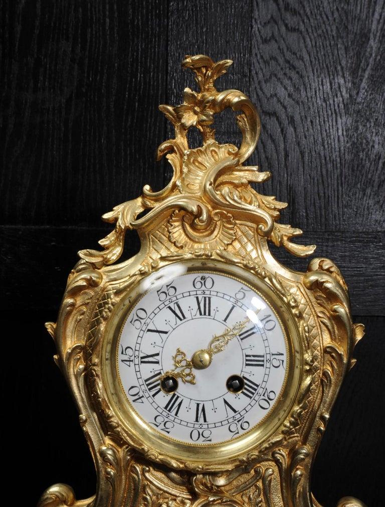 Antique French Gilt Bronze Rococo Clock 8