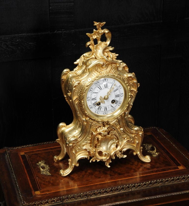 A lovely antique French clock, boldly modelled in the Rococo style in gilded bronze. Waisted keyhole shape profusely decorated with 'C' scrolls, and acanthus to the shoulders. A large shelf motif is mounted to the front and to the top is an