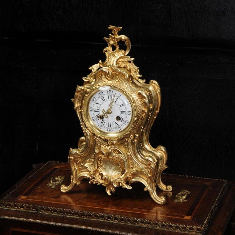 Antique French Gilt Bronze Rococo Clock In Good Condition In Belper, Derbyshire