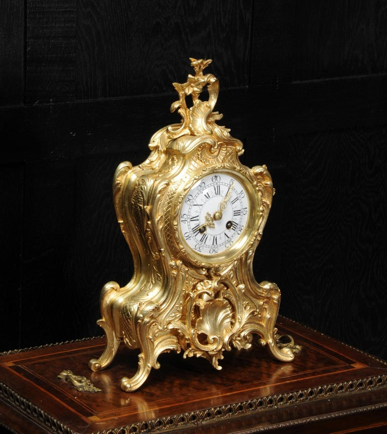 19th Century Antique French Gilt Bronze Rococo Clock
