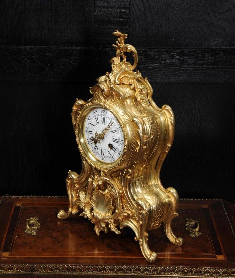 Antique French Gilt Bronze Rococo Clock 1