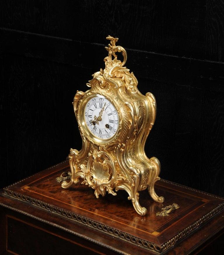 Antique French Gilt Bronze Rococo Clock 2