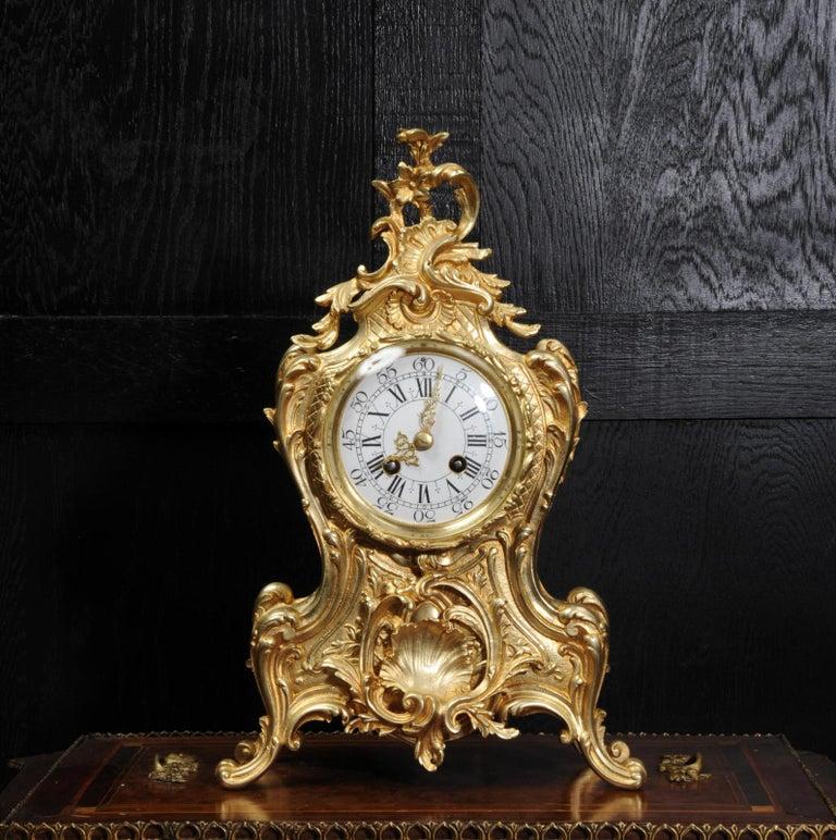 Antique French Gilt Bronze Rococo Clock 3