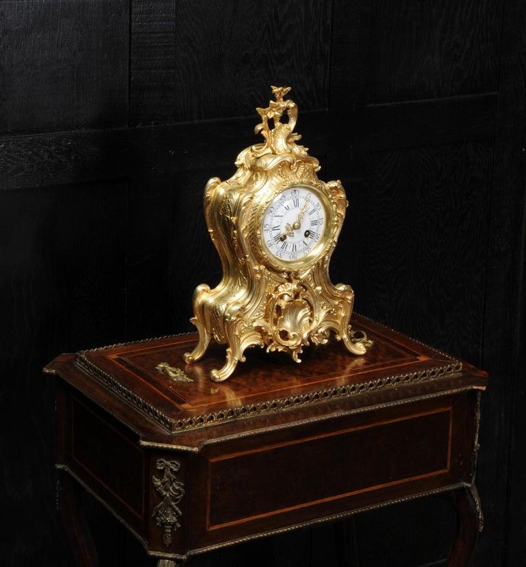 Antique French Gilt Bronze Rococo Clock 4