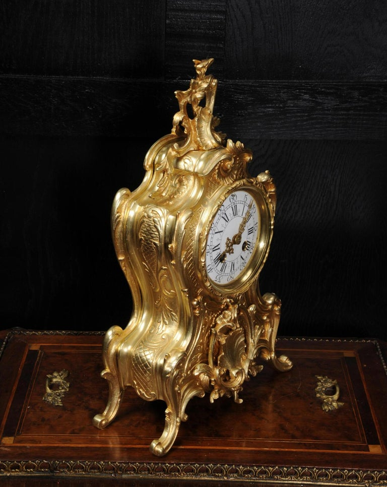 Antique French Gilt Bronze Rococo Clock 5
