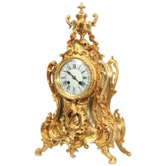 Antique French Gilt Bronze Rococo Clock