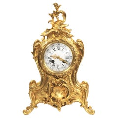 Antique French Gilt Bronze Rococo Clock