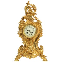 Antique French Gilt Bronze Rococo Clock, Neptune and the Sea
