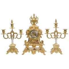 Antique French Gilt Bronze Rococo Clock Set