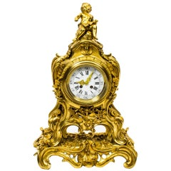Antique French Gilt Bronze Rococo Mantel Clock, Dated 1893