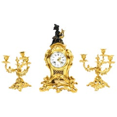 Antique French Gilt Bronze Rococo Mantel Clock Garniture Set, 19th Century