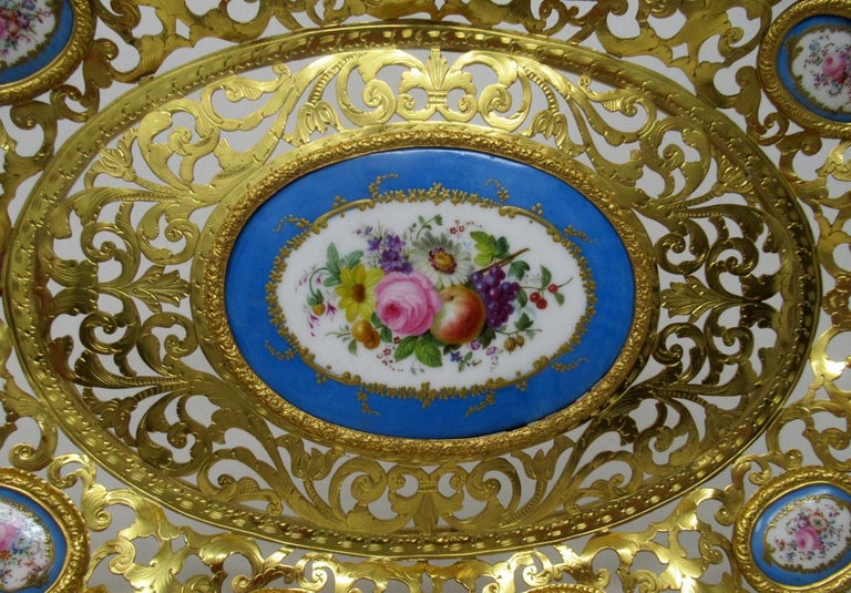 Victorian Antique French Gilt Bronze Sèvres Porcelain Hand Painted Table Centerpiece Tray For Sale