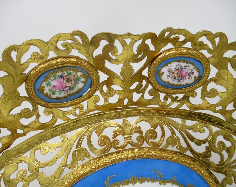 19th Century Antique French Gilt Bronze Sèvres Porcelain Hand Painted Table Centerpiece Tray For Sale