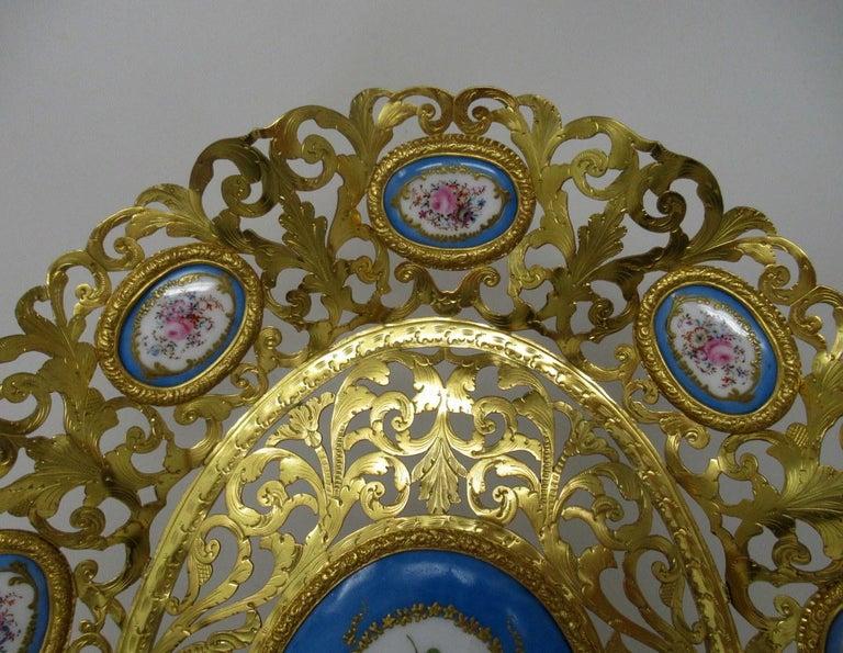 Ceramic Antique French Gilt Bronze Sèvres Porcelain Hand Painted Table Centerpiece Tray For Sale