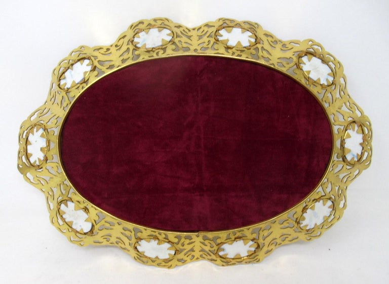 Antique French Gilt Bronze Sèvres Porcelain Hand Painted Table Centerpiece Tray For Sale 1