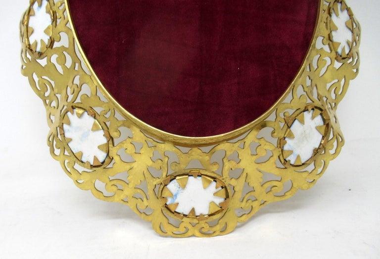 Antique French Gilt Bronze Sèvres Porcelain Hand Painted Table Centerpiece Tray For Sale 2