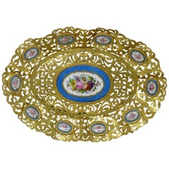 Antique French Gilt Bronze Sèvres Porcelain Hand Painted Table Centerpiece Tray