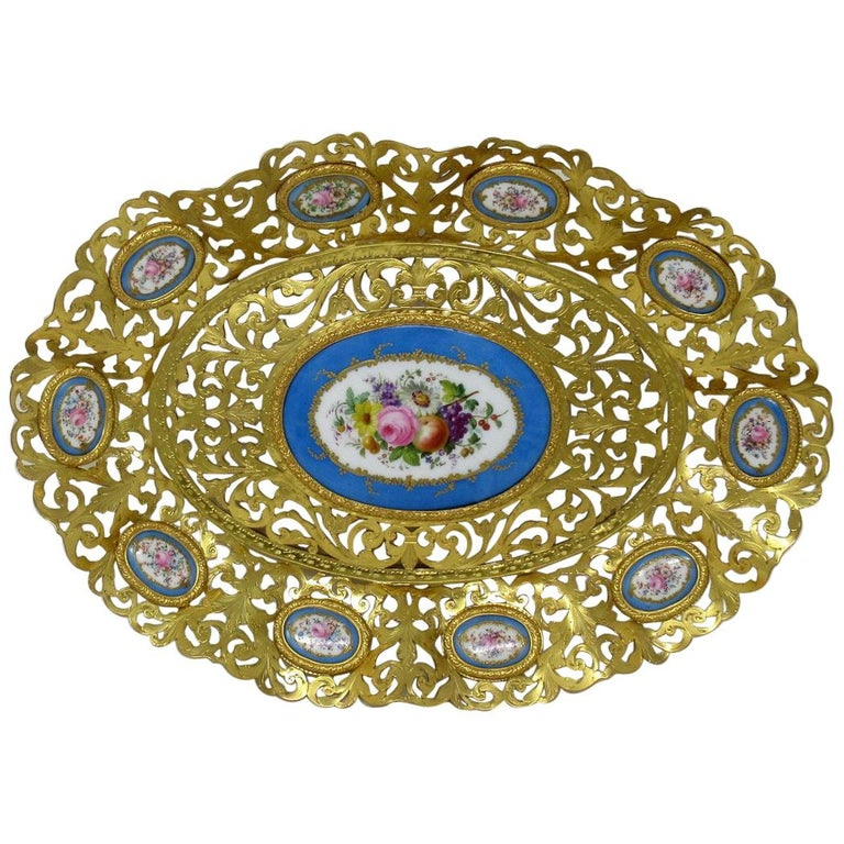 Antique French Gilt Bronze Sèvres Porcelain Hand Painted Table Centerpiece Tray For Sale
