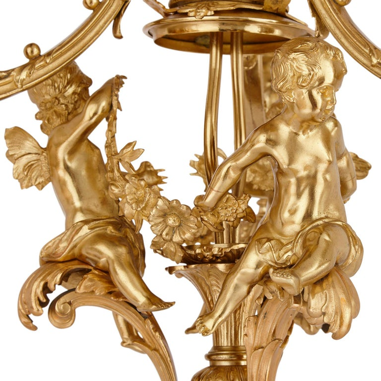 Antique French Gilt Bronze Three-Branch Chandelier In Good Condition For Sale In London, GB