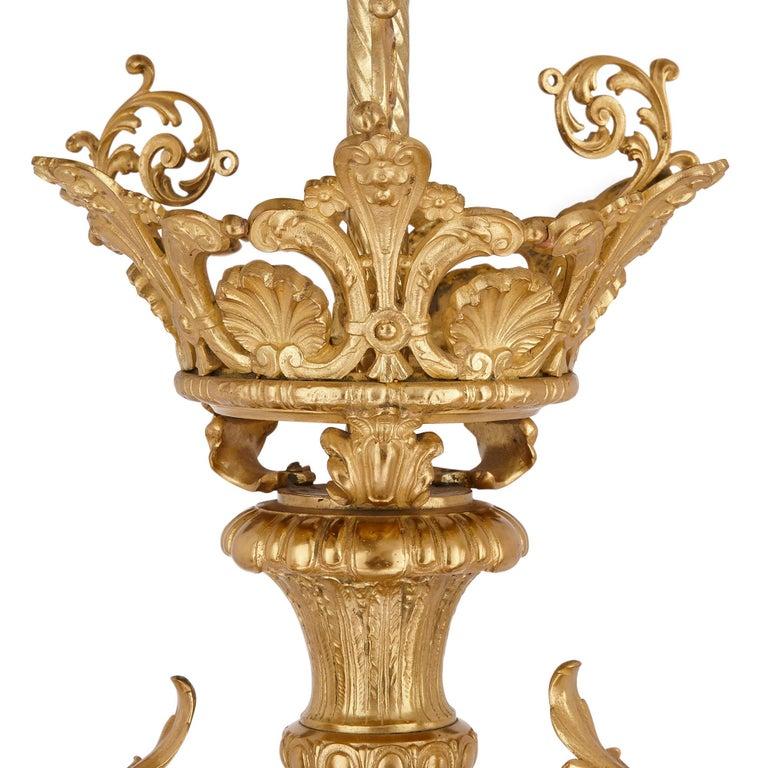 19th Century Antique French Gilt Bronze Three-Branch Chandelier For Sale