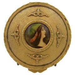 Antique French Gilt Bronze Vanity Box with an Enamel Portrait