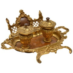 Antique French Gilt Bronze and Walnut Inkwell