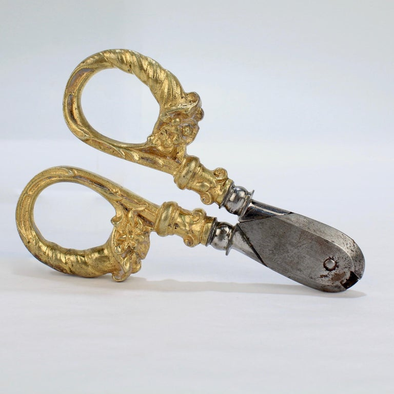 Women's or Men's Antique French Gilt Dore Bronze Pair of Champagne Wire Cutter Shears or Nippers For Sale