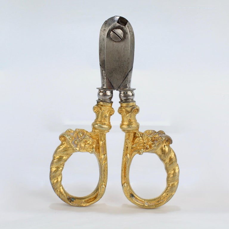 Antique French Gilt Dore Bronze Pair of Champagne Wire Cutter Shears or Nippers For Sale 1