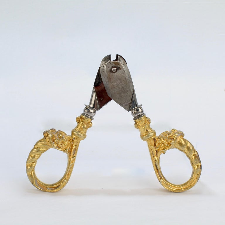 Antique French Gilt Dore Bronze Pair of Champagne Wire Cutter Shears or Nippers For Sale 2