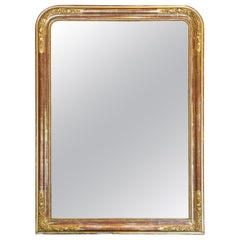 Antique French Gilt Louis Philippe Mirror with Floral Detail & Original Glass