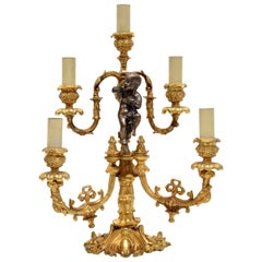 Antique French Gilt Metal Candelabra Table Lamp