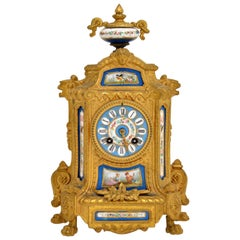Antique French Gilt Metal Clock by Brunfaut