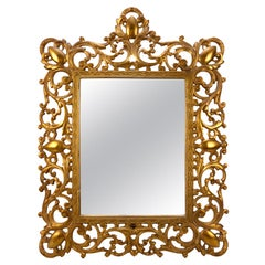 Antique French Gilt Metal Pierced Foliate Table Top Vanity Mirror, circa 1900