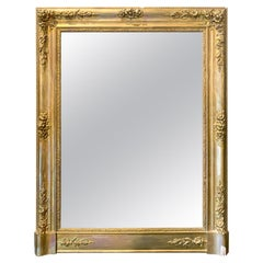 Antique French Gilt Mirror with Floral Detail