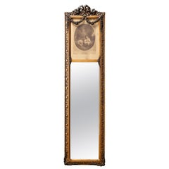 Antique French Gilt Trumeau Hall Mirror with La Bonne Mere Etching, 19th Century
