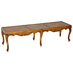 Antique French Giltwood and Leather Coffee Table