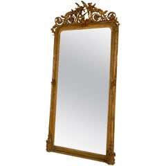 Antique French Giltwood Mirror with Carved Bird at the Crest, circa 1890