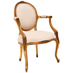 Antique French Giltwood Salon Armchair