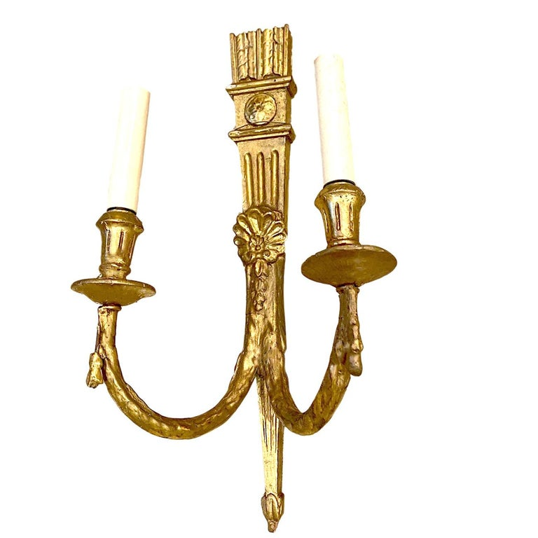 Antique French Giltwood Sconces In Good Condition For Sale In New York, NY
