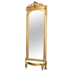 Antique French Giltwood and Marble Pier Mirror, 19th Century