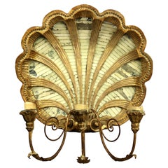 Antique French Giltwood and Mirrored Shell Form Wall Candelabra, 20th Century